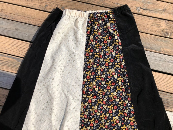 70s Vintage Velvet Boho Long Flared Cotton Maxi E… - image 5