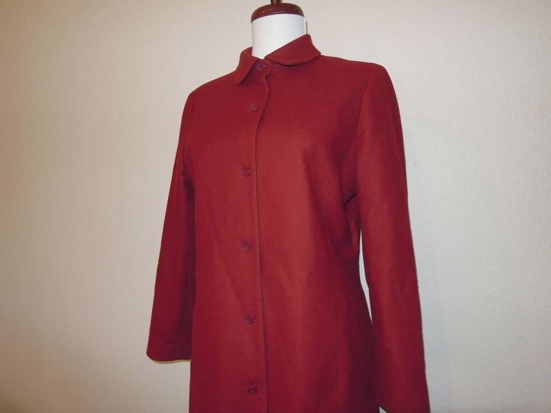 Dark Red Wool Lightweight Simple Half Coat Jacket Blazer Size S M Ann Taylor Plain Simple 1990s 90s  Vintage Maroon Flannel Shirt Tunic
