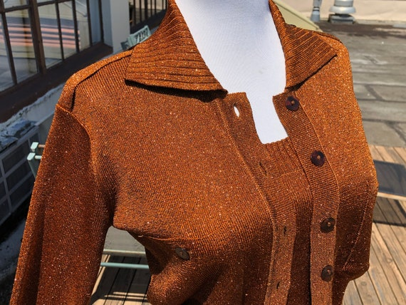 2pc Copper Rust Brown Rayon Metallic Knit Womens B