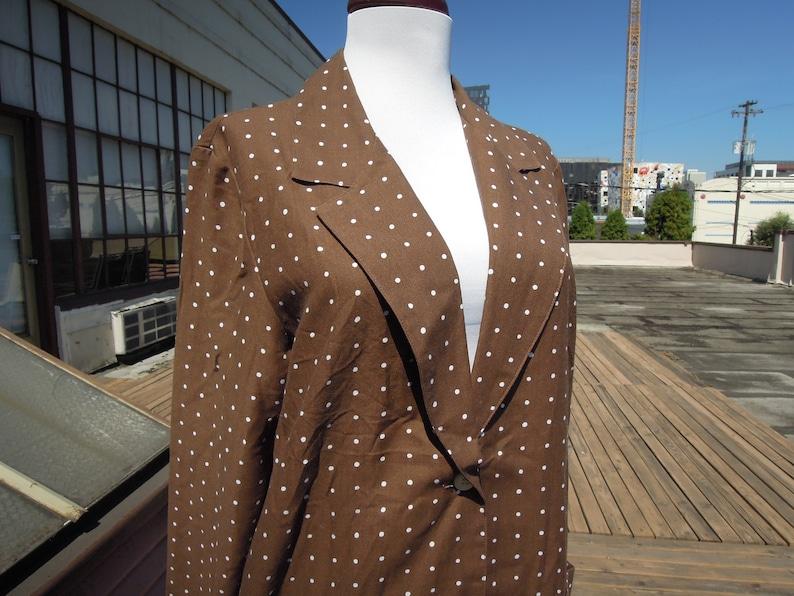 Vtg Boxy Brown White Unlined Polka Dotted Blazer Jacket 1880/'s 80s Funky Coat Size S M Women/'s Vintage La Redoute Milk Chocolate Dot
