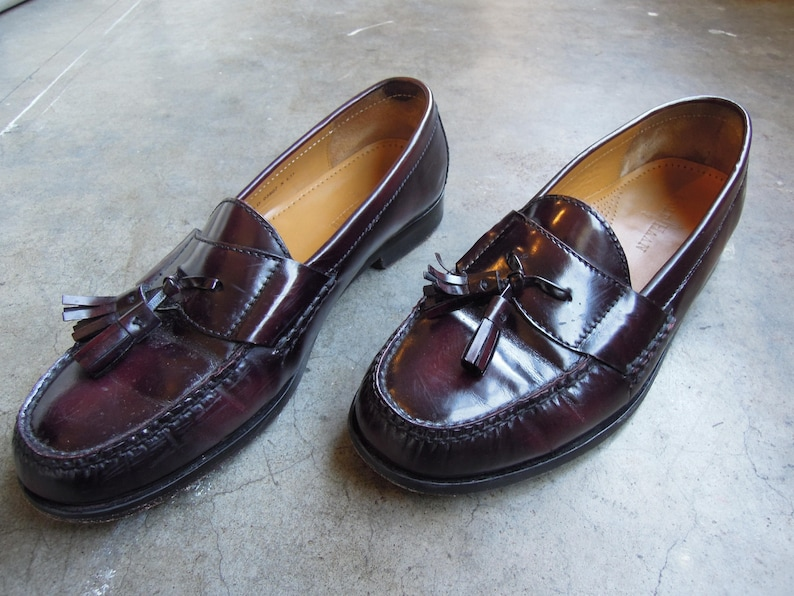 35a7e5f527c Vtg Shiny Leather Tassel Penny Loafers Black Cheery Slip On