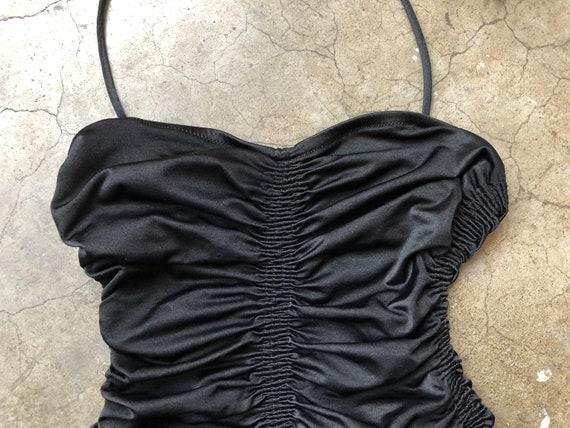 70s Black Smocked Satin Stretch Halter Tie Back Sw