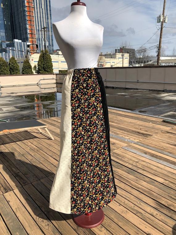 70s Vintage Velvet Boho Long Flared Cotton Maxi E… - image 2