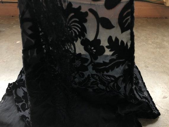 90s Black Floral Velvet Burnout Wide Scarf Shawl … - image 4
