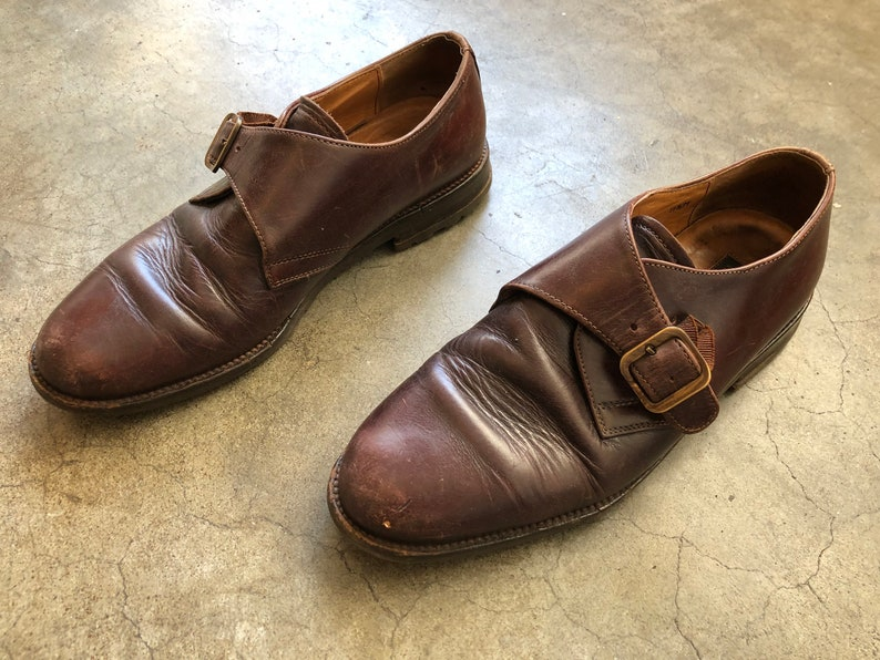 Vintage 90s Mens Barneys New York Brown Leather Monstrap Shoes Oxfords Distressed Worn 1990s Buckle Strap US Size 8.5 Round Toe Loafers