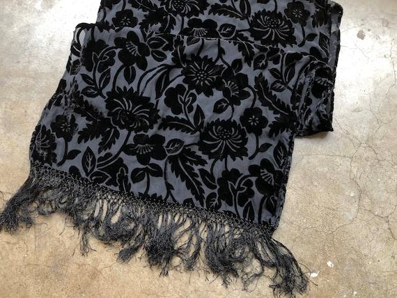 90s Black Floral Velvet Burnout Wide Scarf Shawl … - image 6