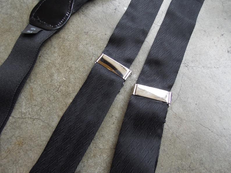 Vintage Pure Silk Black Satin Woven Patent Leather Braces Suspenders Silver Toned Hardware Fany Event Black Tie Event Suspenders 90s 1990s