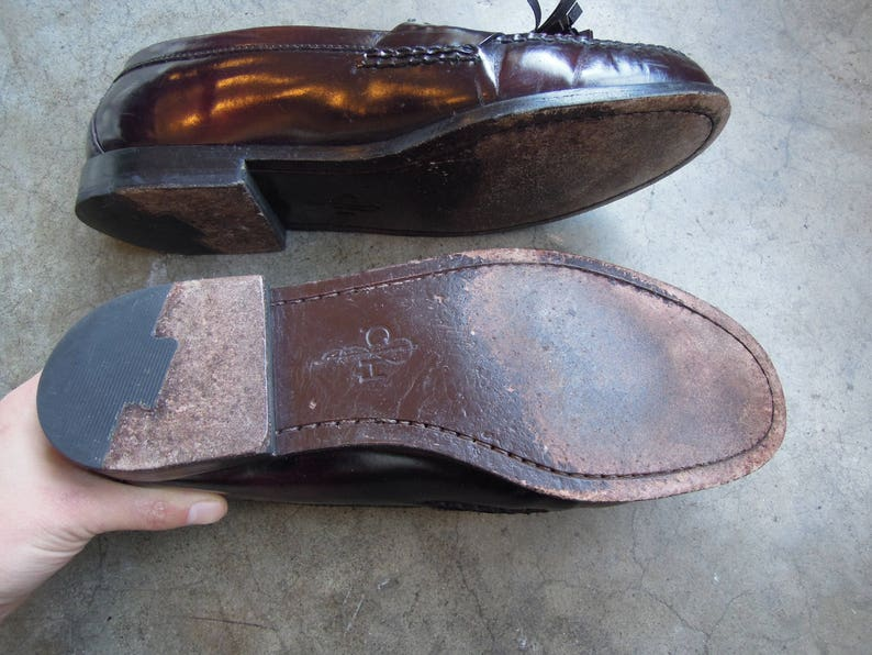 f58281a5a53 Vtg Shiny Leather Tassel Penny Loafers Black Cheery Slip On