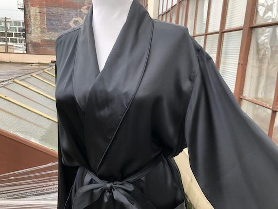 Men's Silk Satin Solid Black Long Robe Belted Jack