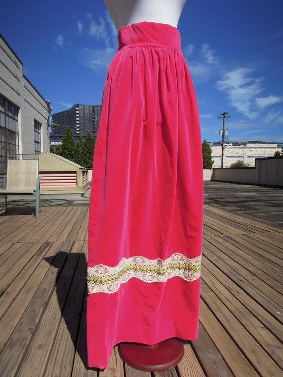 Vintage Velvet Hot Pink Vivid 70s Boho Long Cotton