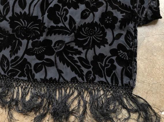 90s Black Floral Velvet Burnout Wide Scarf Shawl … - image 5