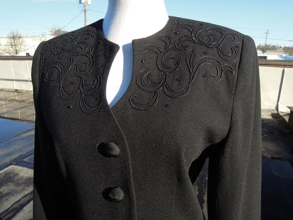 Vtg 40s insp black wool woven Suit Blazer fitted c
