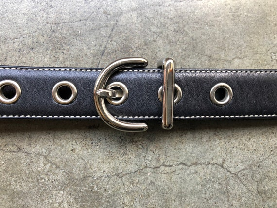 90s COACH Black Smooth Skinny Leather Belt Solid B