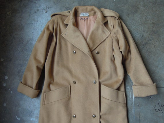 Vtg Wool Trench Coat Camel Caramel Tan Size M to L