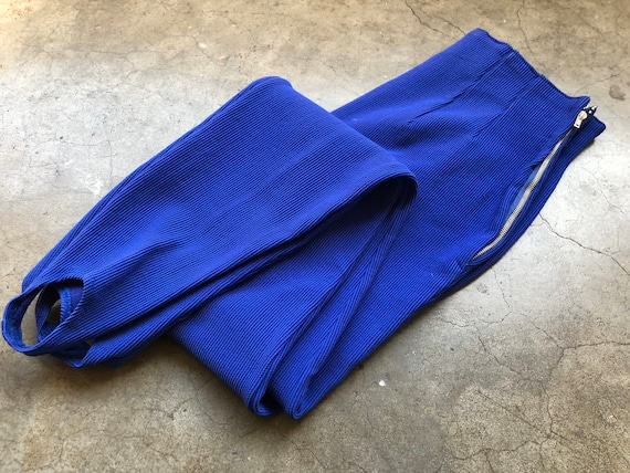 1950s 60s Jantzen High Waisted Bright Electric Blu