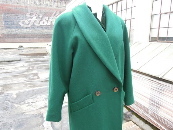 Gorgeous Dark Emerald Green Long Wool Double Breas