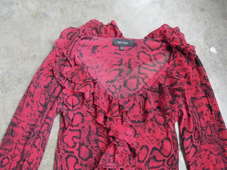 90/'s Sheer Mesh Red Black Python Snake Print Blouse Size Women/'s Medium Ruffled Burgundy Maroon