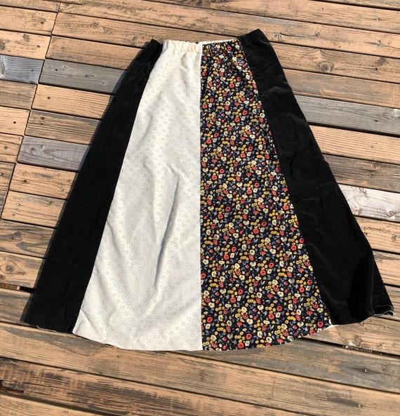 70s Vintage Velvet Boho Long Flared Cotton Maxi E… - image 3