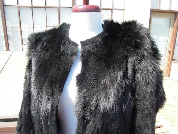 Vintage 40s Black Skunk Fur Chubby Jacket Boxy w/