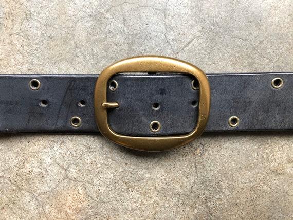 1990s Black Leather Brass Studded Grommet Belt 90s