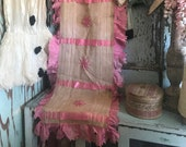 Antique Woven Runner Pillow Cushion Mid 1800 39 s Pink Silk Ruffled Trim Shabby Chic Romantic Q156