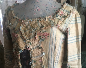 RARE 18th Century Caraco Jacket Dress Yellow Embroidered Silk Marie Antoinette Silk Fabric Floral Ruffled Trim 1700s