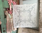 Preview Vintage TAblecloth Luncheon Size Blue White Embroidered Cutowork Lace Floral Shabby Chic