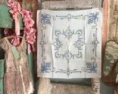 Preview Vintage TAblecloth Luncheon Size Blue White Yellow Floral Farmhouse Shabby Chic