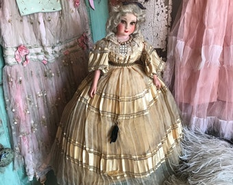 f1912838193 Rare Standing Antique Vintage French Boudoir Sofa Doll Blonde Hair Silk  Dress Shabby Chic