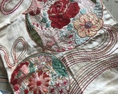 Antique Silk Ribbonwork Lace Boudoir Panel Red Rose Floral Metallic Floss Ribbon H124