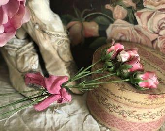 Bouquet 4 Vintage Stems Pink Roses Royal Stratford Porcelain Rose