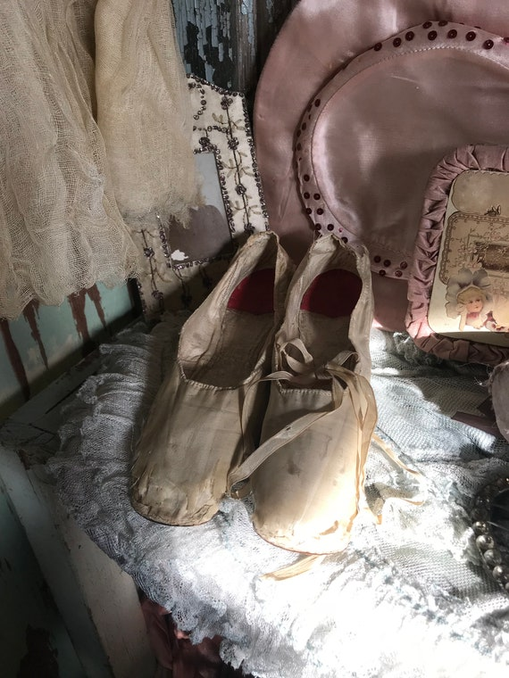 Ivory Antique Shabby 19th c1850 Chic Century Silk Shoes wqBzOq