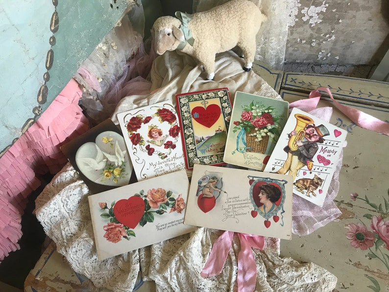 Antique Edwardian Postcard Postcards Valentines Day 7 Pc Lot