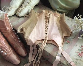 STUNNING Antique Vintage Pale Pink Waist Shaper Corset Girdle Garter 1930s Rockabilly Pinup Zip Side K95