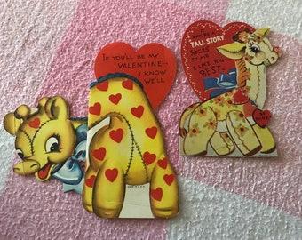Antique Vintage Valentine's Day ValentiNe Card -Giraffe