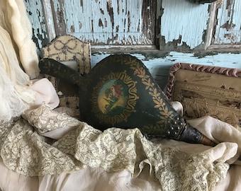 BEAUTIFUL Fireplace Chimney Bellow Hand Painted Wood Folk