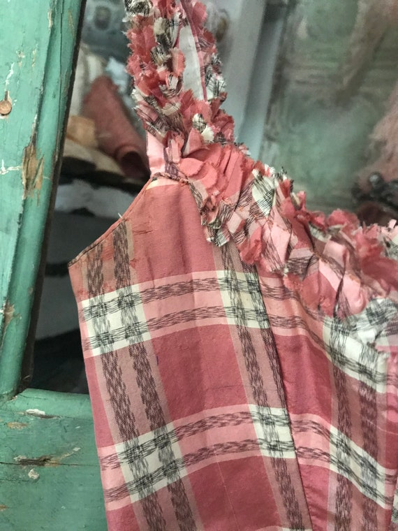 Bodice Deaccession Pink C113 Ruffled Sleeve Corset Plaid c1890 Antique Museum PwqAgRg