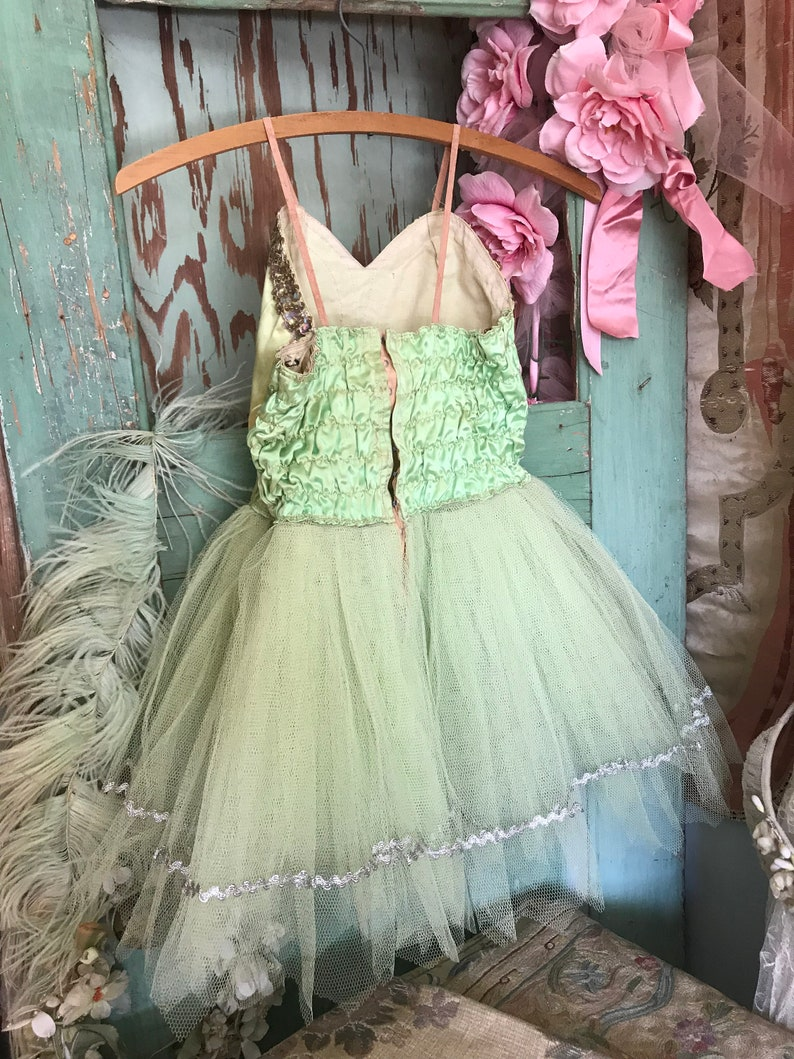 OMG Vintage Shabby Chic Ballet Costume Tutu Tulle Lace Lime Green Sequins Headdress