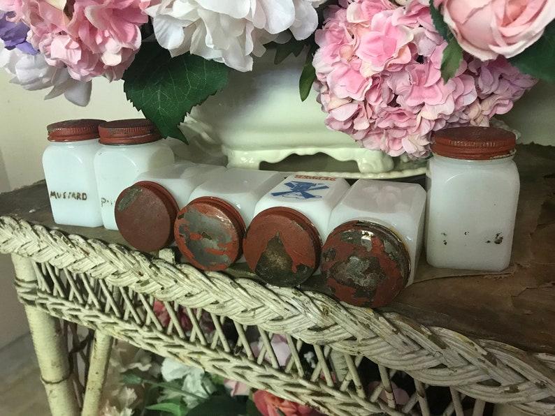 LOT 7 Vintage  Milkglass Milk Glass Jars Red Tin Tops