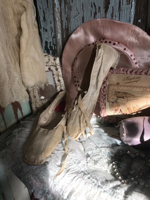 Shoes Century 19th Chic c1850 Antique Ivory Silk Shabby T7gvwq