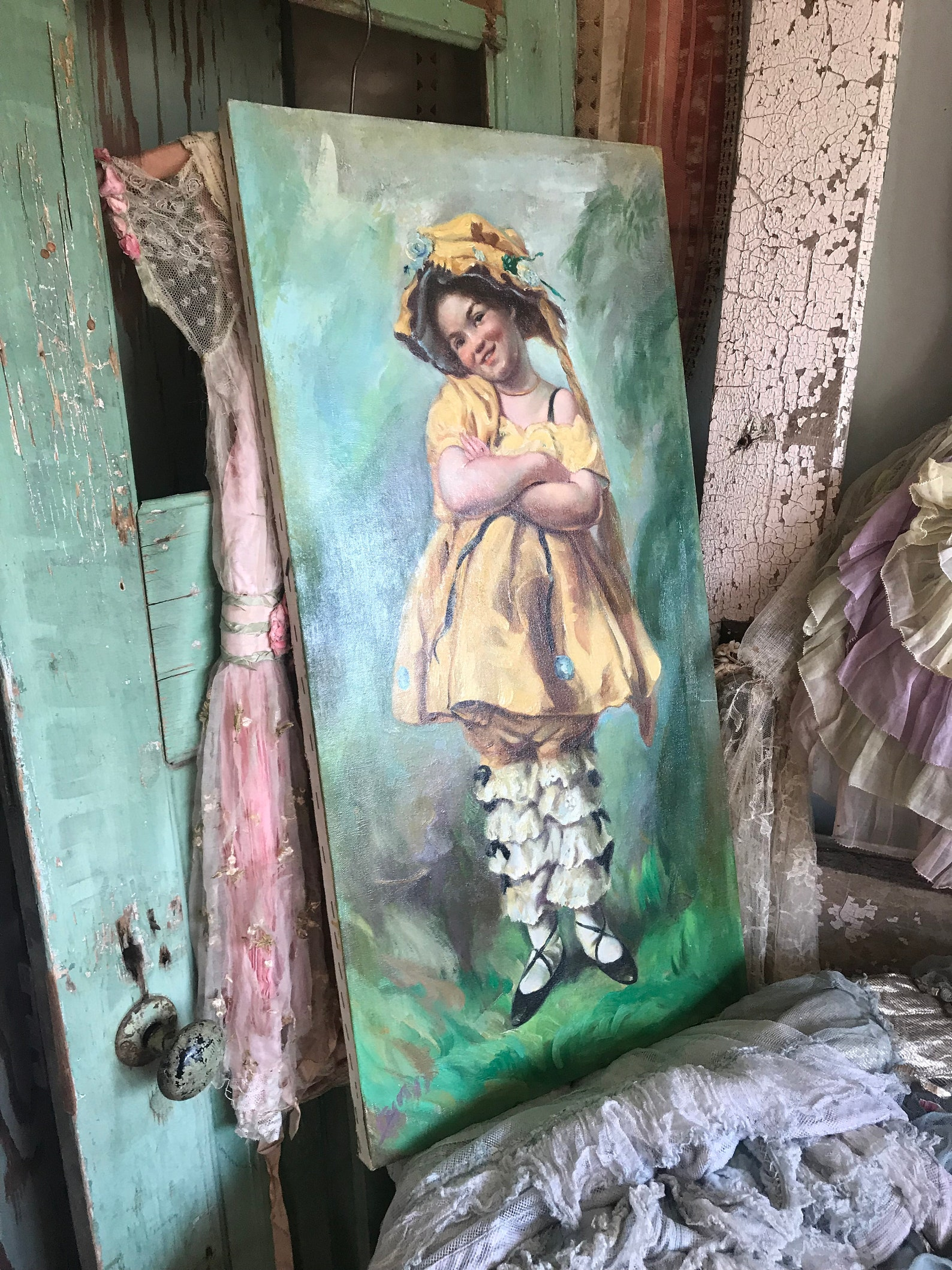 vintage painting little bo peep girl yellow dress ruffled bloomers bonnet ballet shoes