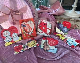 Lot 7 Anthropomorphic Antique Vintage Valentine's Day Valentine Card - Kite Teapot Blueberries