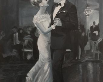 Painting Oil Custom Portrait - Monochrome Black and White - From Photo, Adult Portrait, Child Portrait, Family Portrait, Hand Painted