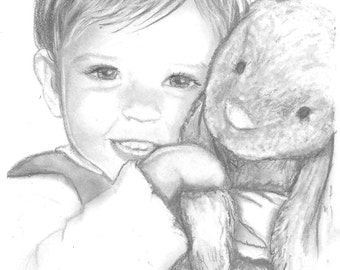 Drawing - Custom Portrait - Pencil - From Photo - Child Portrait, Adult Portrait, Family Portrait, Wedding Portrait