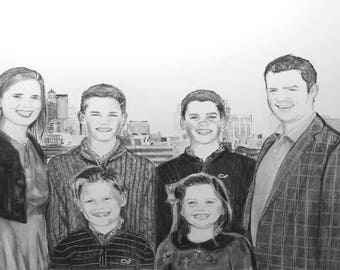 Drawing - Custom Portrait - Pencil - From Photo - Family Portrait