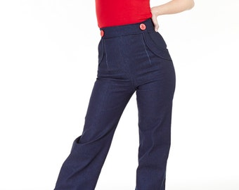 Navy Denim swing pants
