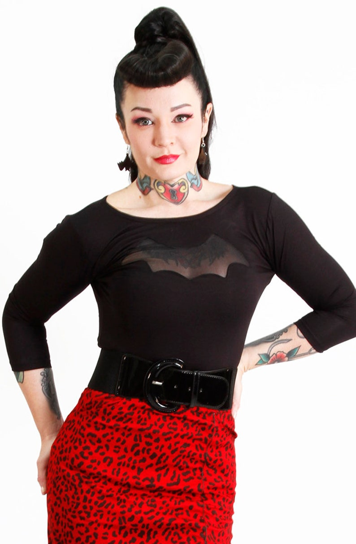 Easy Retro Halloween Costumes – Last Minute Ideas Black Night Wing Top 3/4 Sleeve  AT vintagedancer.com