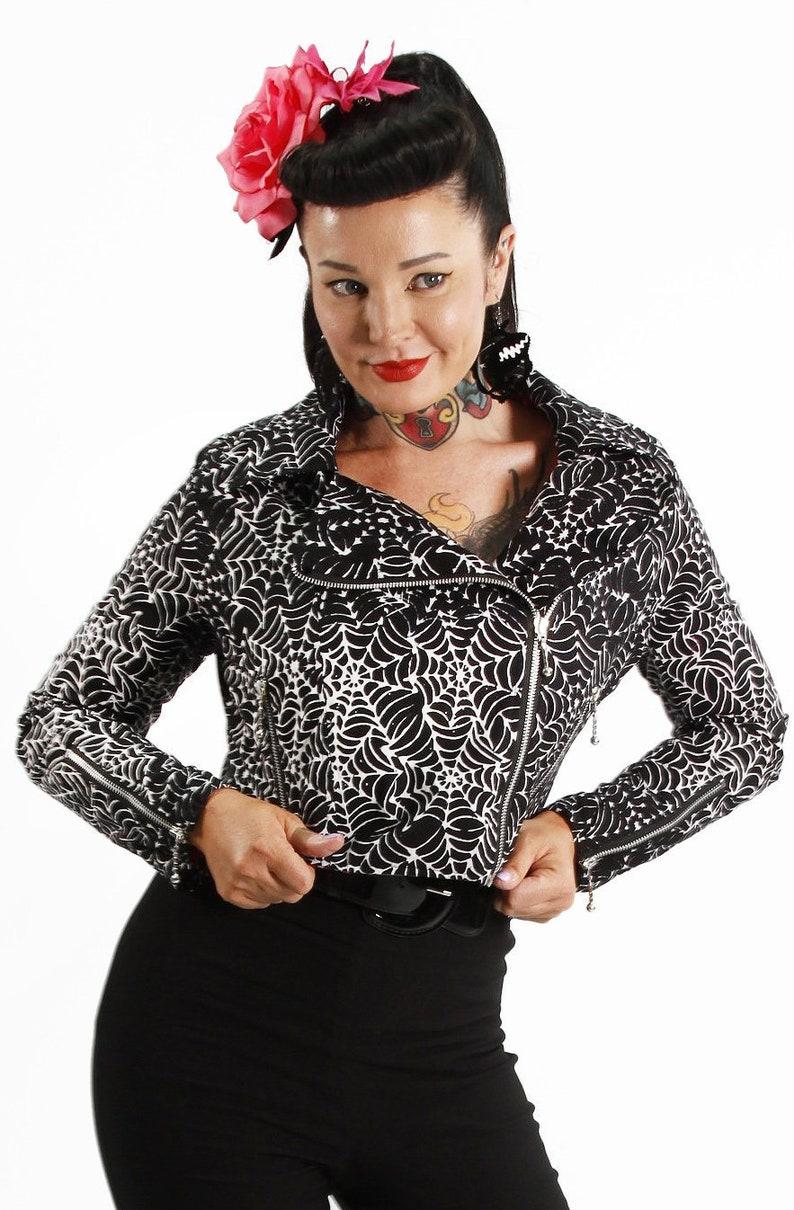 Easy Retro Halloween Costumes – Last Minute Ideas Black Widow Biker Jacket $74.45 AT vintagedancer.com