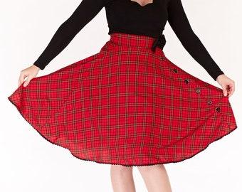 Red tartan bow skirt