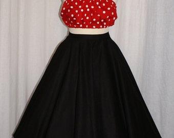 9a73d92ad517c Vintage 1950s inspired plain black true full circle skirt Rockabilly Viva  VLV